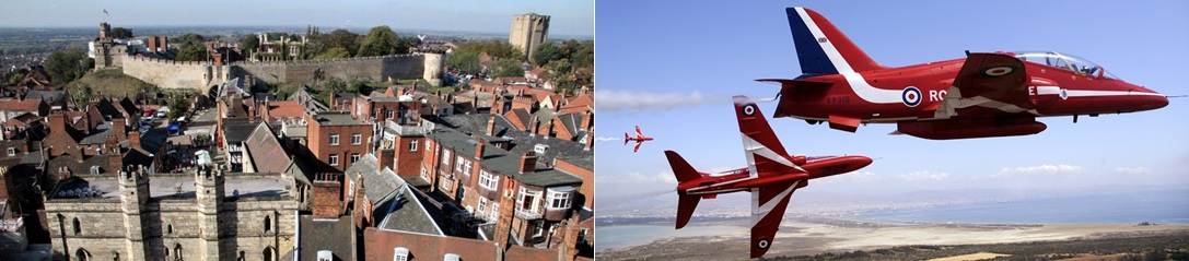 View from Lincoln Castle and the Red Arrows
